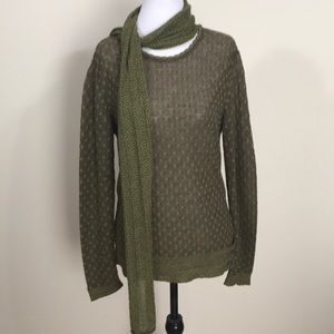 SOL Alpaca Sweater W/ Attached Scarf- Med